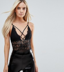 NaaNaa Petite Body With Corset Waist Detail And Contrast Lace Up Front - Black