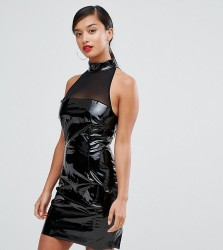 NaaNaa Petite Bodycon Dress With Mesh Detail In PVC - Black