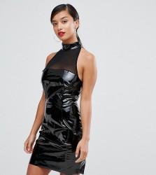 NaaNaa Petite Bodycon Dress With Mesh Detail In PVC - Black