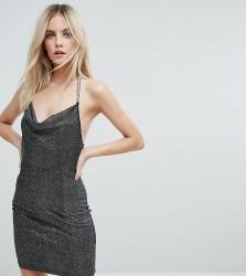 NaaNaa Petite Cowl Front Glitter Mini Dress - Black