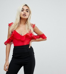NaaNaa Petite Frill Cold Shoulder Bodysuit - Red