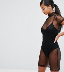 NaaNaa Petite High Neck Mesh Mini Dress With Underlay - Black