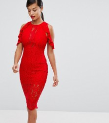 NaaNaa Petite Lace Bodycon Midi Dress With Off Shoulder And Cut Out Detail - Red