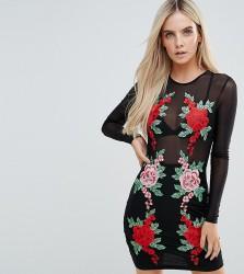 NaaNaa Petite Mesh Bodycon Mini Dress With Floral Applique - Black