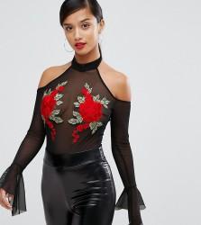 NaaNaa Petite Mesh Off Shoulder Body With Floral Applique - Black