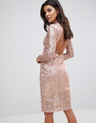 NaaNaa Sparkling Sequin Midi Dress with Open Back - Gold