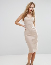 NaaNaa Structured Pencil Dress With Bust Cup Detail - Tan