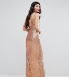 Naanaa Tall Allover Sequin Cross Back Maxi Dress - Multi