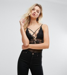 NaaNaa Tall Body With Corset Waist Detail And Contrast Lace Up Front - Black