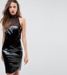 NaaNaa Tall Bodycon Dress With Mesh Detail In PVC - Black