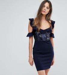 NaaNaa Tall Frill Detail Mini Dress in Sequins - Navy