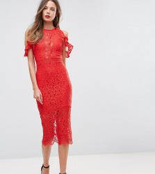 NaaNaa Tall Lace Bodycon Midi Dress With Off Shoulder And Cut Out Detail - Red