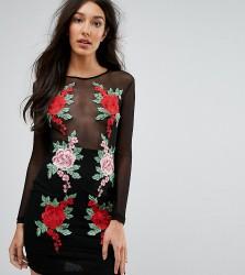 NaaNaa Tall Mesh Bodycon Mini Dress With Floral Applique - Black