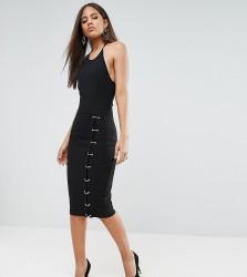 Naanaa Tall Midi Dress With Ring Side Detail - Black