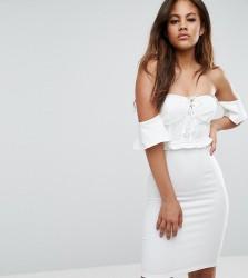 NaaNaa Tall Off Shoulder Corset Detail Mini Dress - White