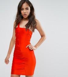 Naanaa Tall One Shoulder Rouched Mini Dress - Orange