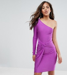 Naanaa Tall One Shoulder Wrap Front Mini Dress - Purple