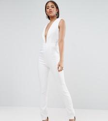 Naanaa Tall Plunge Neck Tailored Jumpsuit - White