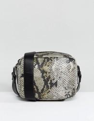 Nali Snake Effect Boxy Across Body Bag - Yellow