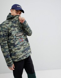 Napapijri Rainforest Jacket In Camo Print - Green