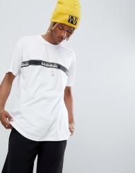 Napapijri Sagar taped logo crew neck t-shirt in white tribe pack - White