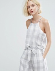 Native Youth Cami Crop Top In Large Gingham Co-Ord - Grey