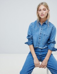 Native Youth cropped denim shirt with frayed hem - Blue