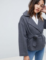 Native Youth Cropped Jacket With Tie Waist - Grey