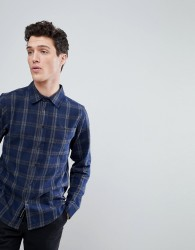 Native Youth Curved Hem Check Shirt - Navy