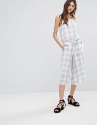 Native Youth Gingham Tie Waist Culottes - Grey