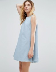Native Youth Japanese Tack Stitch Tent Dress - Blue