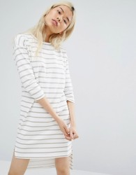 Native Youth Long Sleeve T-Shirt Dress In Breton Stripe - White