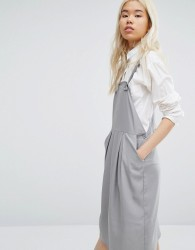 Native Youth Minimal Pinafore Midi Dress - Grey