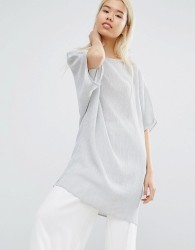 Native Youth Oversized Longline Top In Crinkle Fabric - Grey