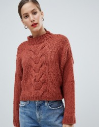 Native Youth Premium Hand Knitted Cropped Cable Knit Jumper - Red