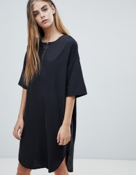 Native Youth shift dress with half zip - Black