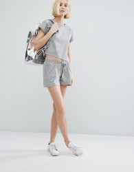 Native Youth Shorts In Mini Gingham Co-Ord - Grey