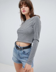 Native Youth Slash Neck Long Sleeve Stripe Top - Black