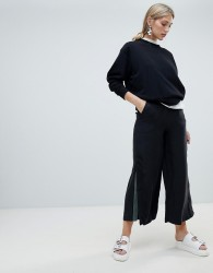 Native Youth wide leg trouser with contrast flared panel - Black