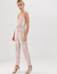 Needle and Thread floral embellished jumpsuit with tie waist in rose quartz - Pink
