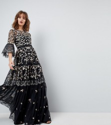 Needle & Thread Allover Embroidered and Embellished Maxi Gown with Fluted Sleeves - Black