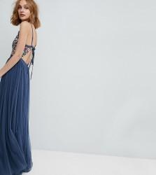 Needle & Thread Cami Strap Maxi Dress with Open Back - Blue