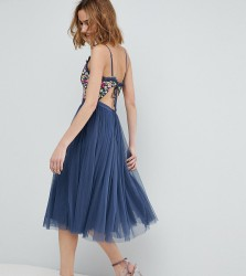 Needle & Thread Cami Strap Midi Dress with Open Back - Blue