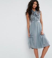 Needle & Thread Ditsy Bodice Dress with Tie Neck - Green