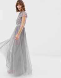 Needle & Thread embellished bodice tulle maxi gown in lavender - Purple
