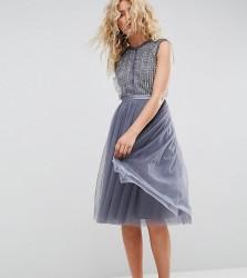 Needle & Thread Embellished Midi Tulle Dress - Blue