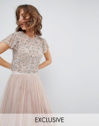 Needle & Thread Embellished Tonal Delicate Top with Flutter Sleeve - Pink