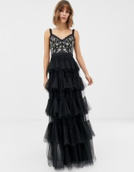 Needle & Thread embrodiered tiered tulle gown in black - Black