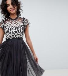 Needle & Thread embroidered bodice tulle midi dress in graphite - Multi