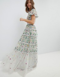 Needle & Thread Embroidered Floral Gown with High Neck and Tiered Skirt - Blue